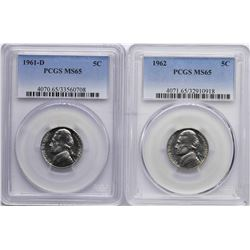 Lot of 1961-D & 1962 Jefferson Nickel Coins PCGS MS65