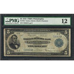 1918 $5 Federal Reserve Bank Note Philadelphia Fr.783 PMG Fine 12