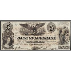 1862 $5 Bank of Louisiana Obsolete Note
