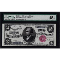 1891 $2 Windom Silver Certificate Note Fr.245 PMG Extremely Fine 45EPQ
