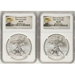 Lot of (2) 2014 $1 American Silver Eagle Coins NGC MS69 First Releases