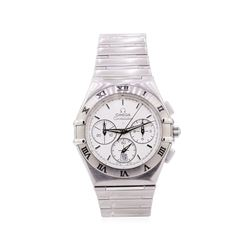 Omega Mens Constellation Chronograph Stainless Steel Wristwatch