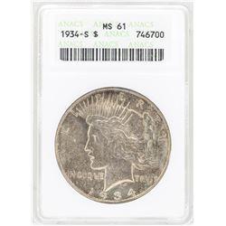 1934-S $1 Peace Silver Dollar Coin ANACS MS61