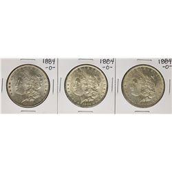 Lot of (3) 1884-O $1 Morgan Silver Dollar Coins