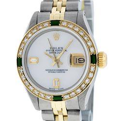 Rolex Ladies Two Tone 14K MOP Diamond & Emerald Datejust Wriswatch