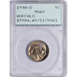 1938-D Buffalo Nickel Coin PCGS MS65 Old Green Rattler Holder