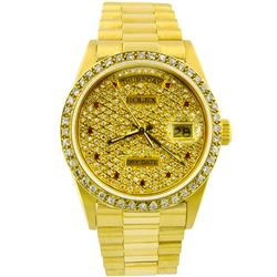 Rolex Mens Day-Date President 18KT Yellow Gold 36mm Custom Diamond Dial Watch