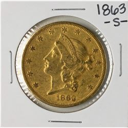 1863-S $20 Liberty Head Double Eagle Gold Coin