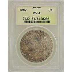 1882 $1 Morgan Silver Dollar Coin PCGS MS64 AMAZING TONING