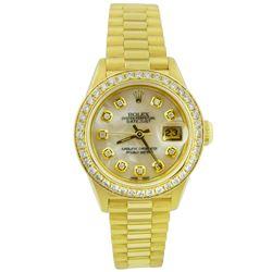 Rolex Ladies Datejust President 18KT Yellow Gold 26mm MOP Custom Diamond Dial Wa