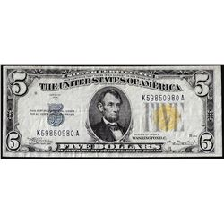 1934A $5 North Africa WWII Emergency Issue Silver Certificate Note