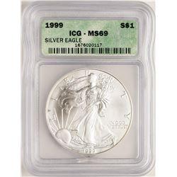 1999 $1 American Silver Eagle Coin ICG MS69