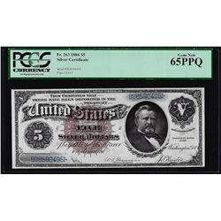 1886 $5 Morgan Dollar Back Silver Certificate Note Fr.263 PCGS Gem New 65PPQ