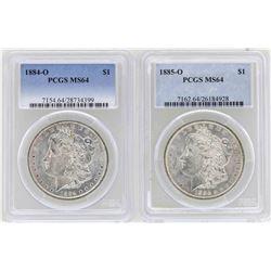 1884-O to 1885-O $1 Morgan Silver Dollar Coins PCGS MS64