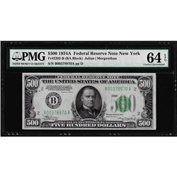 1934A $500 Federal Reserve Note New York Fr.2202-B PMG Choice Uncirculated 64EPQ