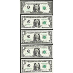 Lot of (5) Consecutive 1963B $1 Federal Reserve BARR STAR Notes