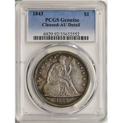 1843 $1 Liberty Seated Silver Dollar Coin PCGS AU Detail Nice Toning