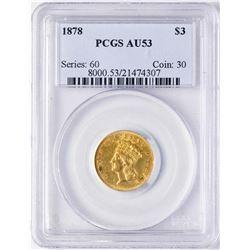1878 $3 Indian Princess Head Gold Coin PCGS AU53