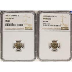 Lot of 1687-1688 Germany Nurnberg Pfennig Coins NGC MS63