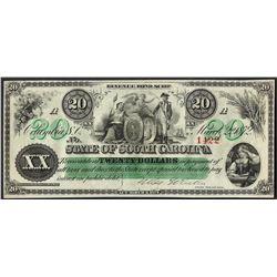 1872 $20 State of South Carolina Obsolete Note