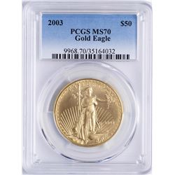 2003 $50 American Gold Eagle Coin PCGS MS70