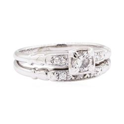 14KT White Gold 0.30 ctw Diamond Vintage Lady's Wedding Set