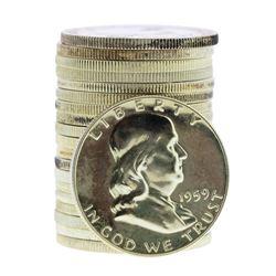 Roll of (20) 1959 Proof Franklin Half Dollar Coins