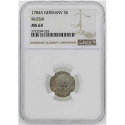 1784-A Germany Silesia 3 Krezuer Coin NGC MS64