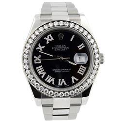 Rolex Mens Datejust II Stainless Steel 41mm Black Diamond Roman Dial Diamond Wat