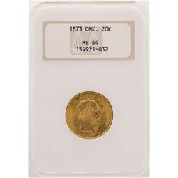 1873 Denmark 20 Kroners Gold Coin NGC MS64