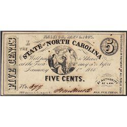 January 1, 1863 Five Cents State of North Carolina Obsolete Note