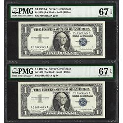 Lot of (2) 1957A $1 Silver Certificate Notes PMG Superb Gem Unc. 67EPQ