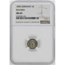 1855 Germany Bavaria Kreuzer Coin NGC MS65