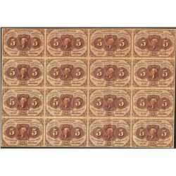 Fr.1230 Uncut Sheet of (16) 1862 First Issue Five Cents Fractional Currency Note