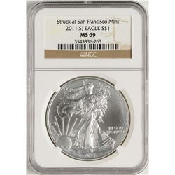 2011-(S) $1 American Silver Eagle Coin NGC MS69