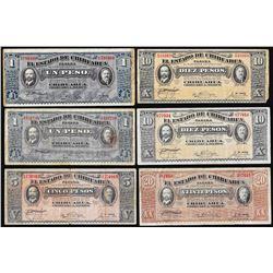 Lot of  (6) 1915 El Estado de Chihuahua, Mexico Notes