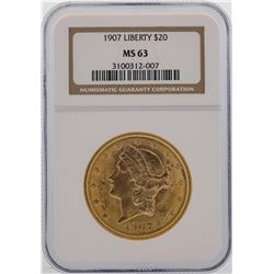 1907 $20 Liberty Head Double Eagle Gold Coin NGC MS63