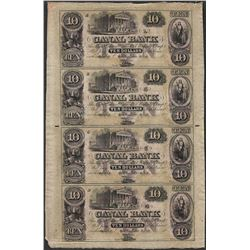 Uncut Sheet of 1800's $10 Canal Bank Obsolete Notes