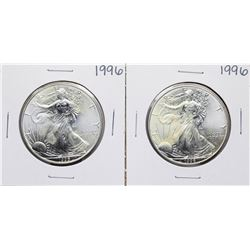 Lot of (2) 1996 $1 American Silver Eagle Coins