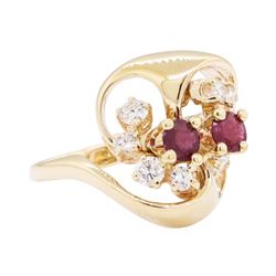 14KT Yellow Gold 1.20 ctw Diamond and Ruby Ring