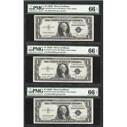 Lot of (3) 1935D $1 Silver Certificate Notes Fr.1613N PMG Gem Uncirculated 66EPQ