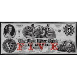 1800's $5 The West River Bank Obsolete Note