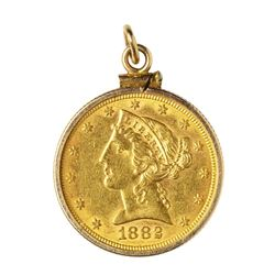 1882 $5 Liberty Head Half Eagle Gold Coin with Gold Bezel