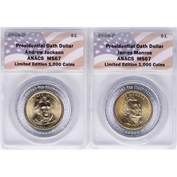 Lot of (2) 2008 Presidential Oath Dollar Coins ANACS MS67