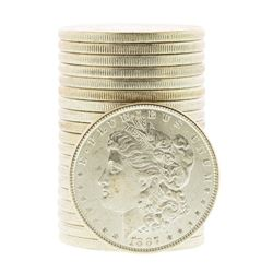 Roll of (20) Brilliant Uncirculated 1887 $1 Morgan Silver Dollar Coins