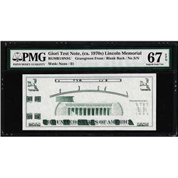 Giori Test Note Lincoln Memorial PMG Superb Gem Uncirculated 67EPQ