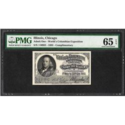 1893 World's Columbian Exposition Ticket Franklin PMG Gem Uncirculated 65EPQ