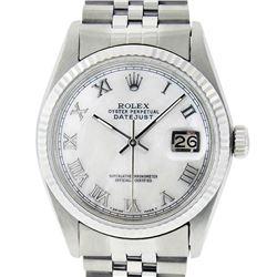 Rolex Men's Stainless Steel Mother Of Pearl Roman Datejust 36MM Wristwatch Datej