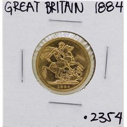 1884 Great Britain Queen Victoria Sovereign Gold Coin