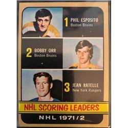 1972-73 Topps Phil Esposito, Bobby Orr, Jean Ratelle Card #63